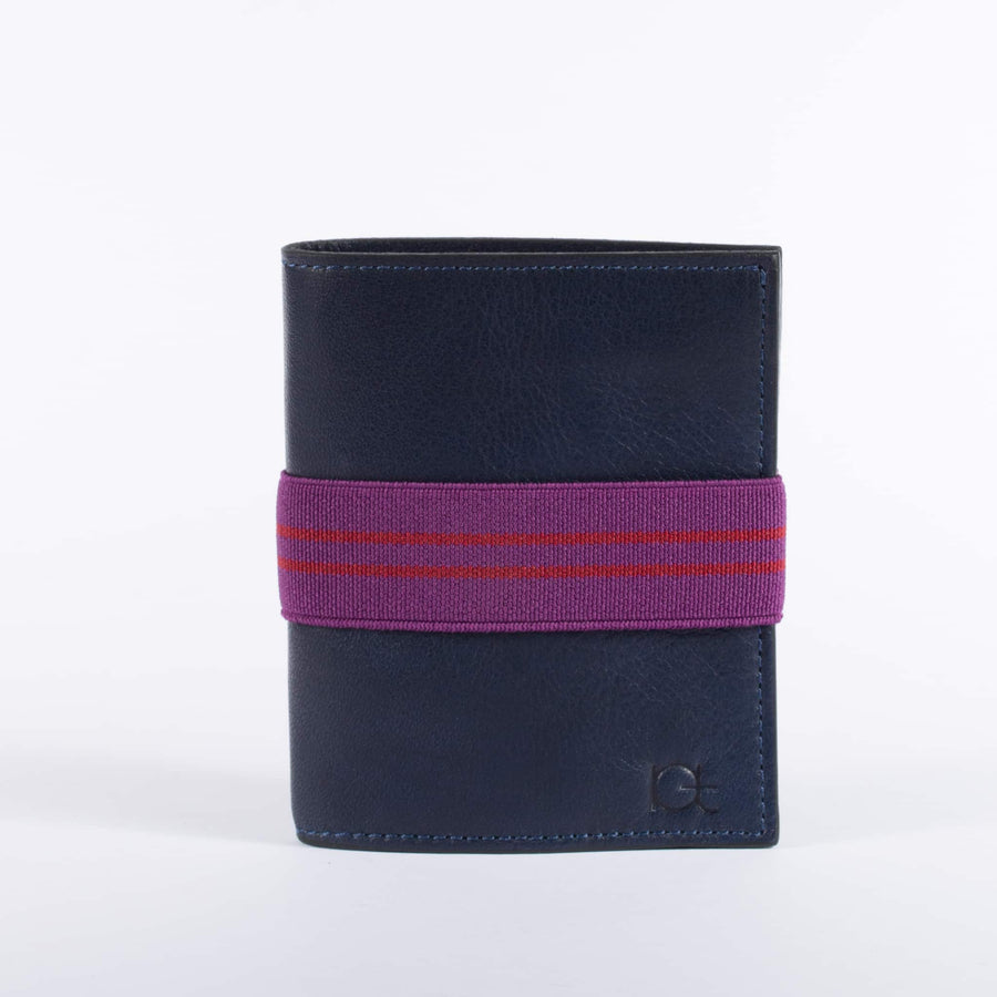 Man's leather Wallet color blu with elastic ribbon