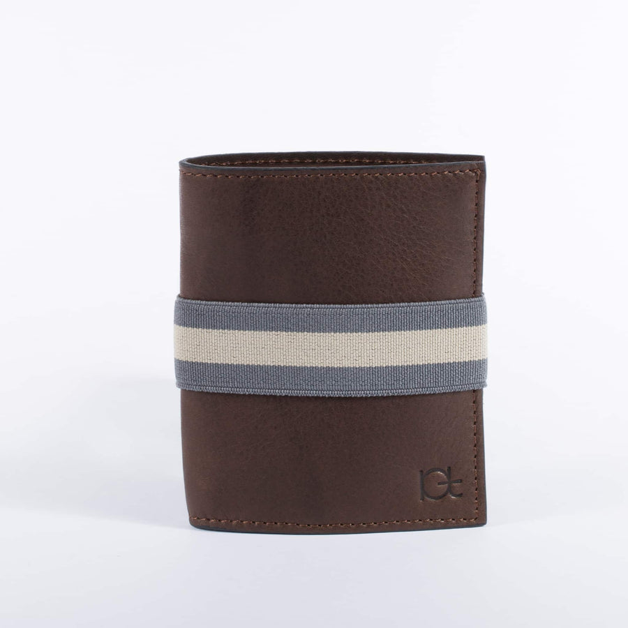Man's leather Wallet color choko with elastic ribbon