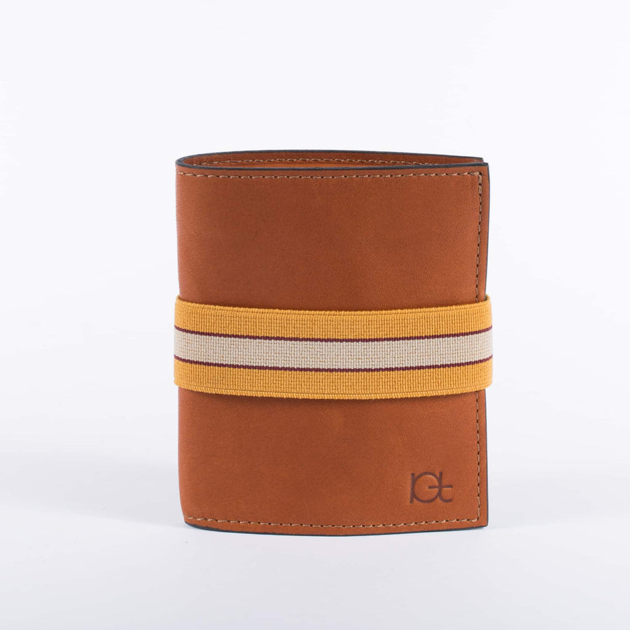 Man's leather Wallet color cognac with elastic ribbon