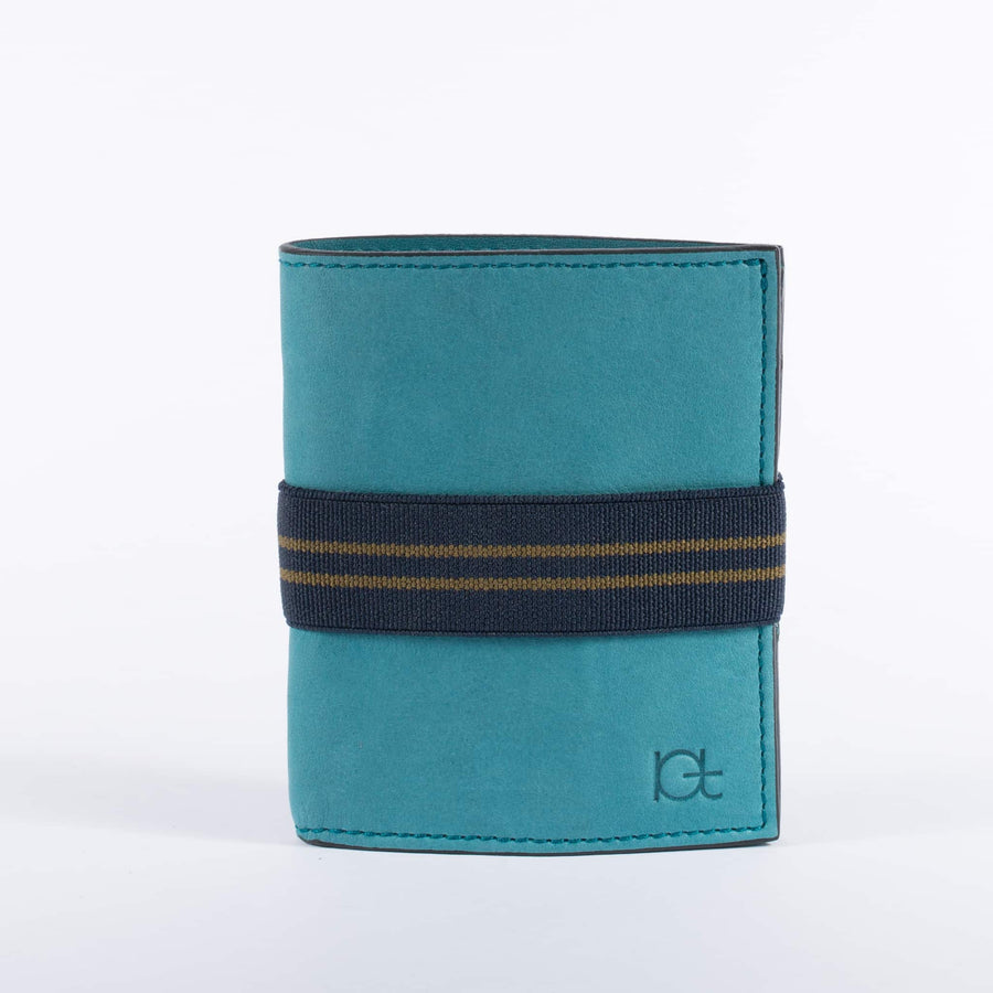 Man's leather Wallet color petrolio with elastic ribbon