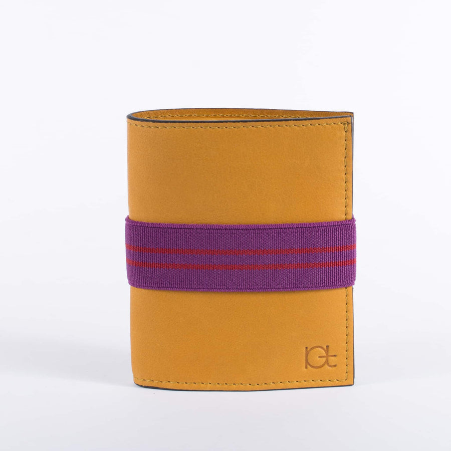 Man's leather Wallet color topazio with elastic ribbon