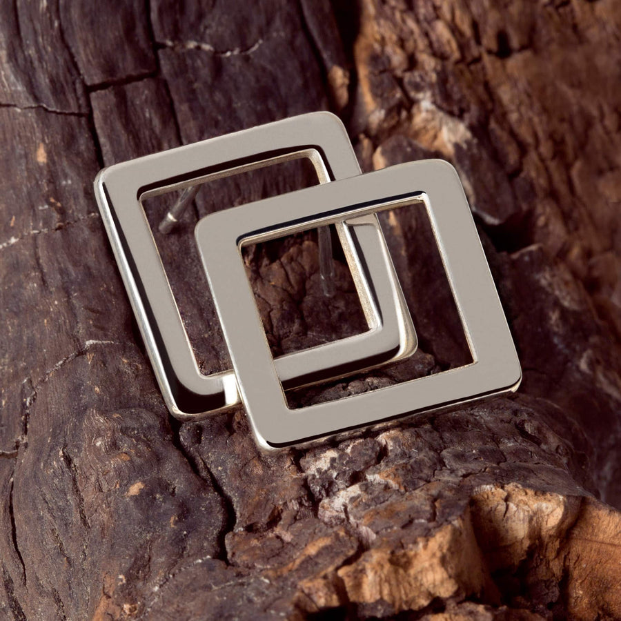 Square earrings smooth silver