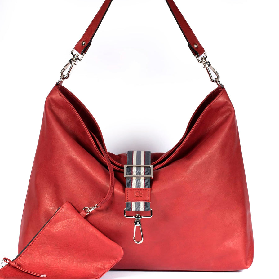 Leather Bag Sacca color red handmade with an elastic shoulder strap