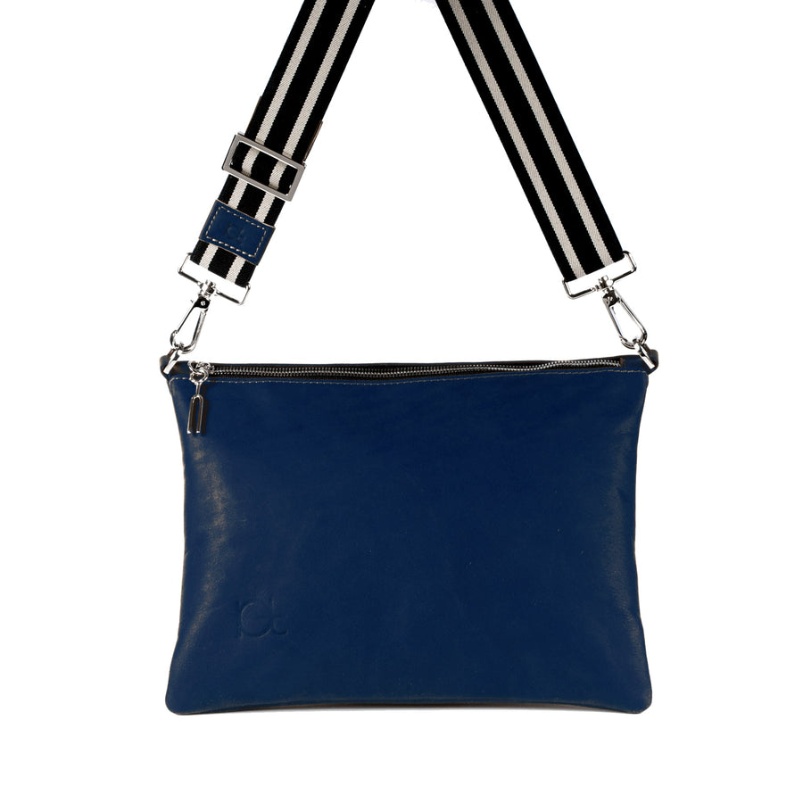 Leather Bag Sella color blu  handmade with an elastic shoulder strap