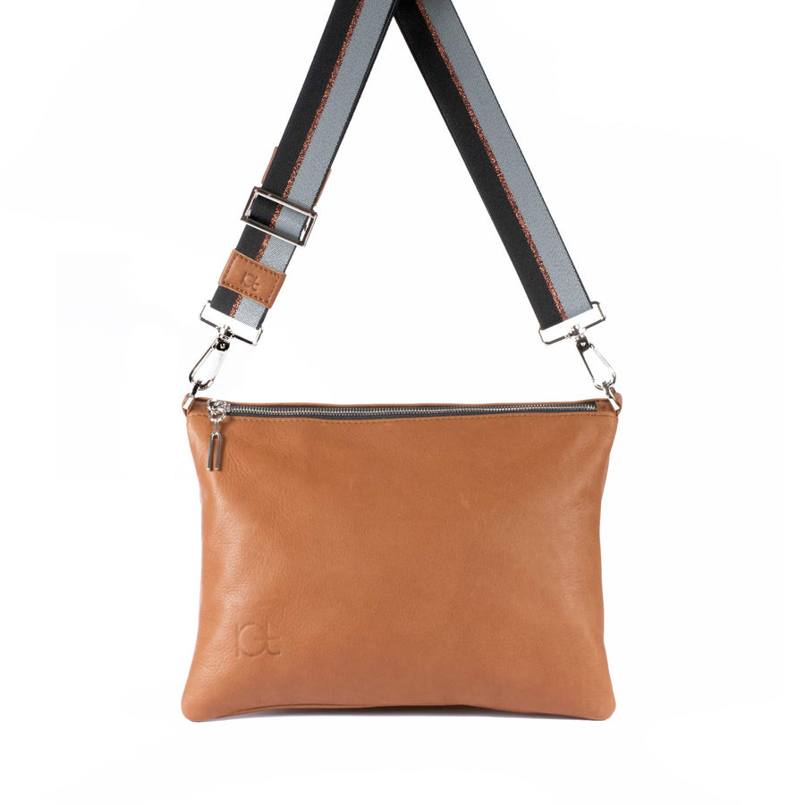 Leather Bag Sella color cognc  handmade with an elastic shoulder strap