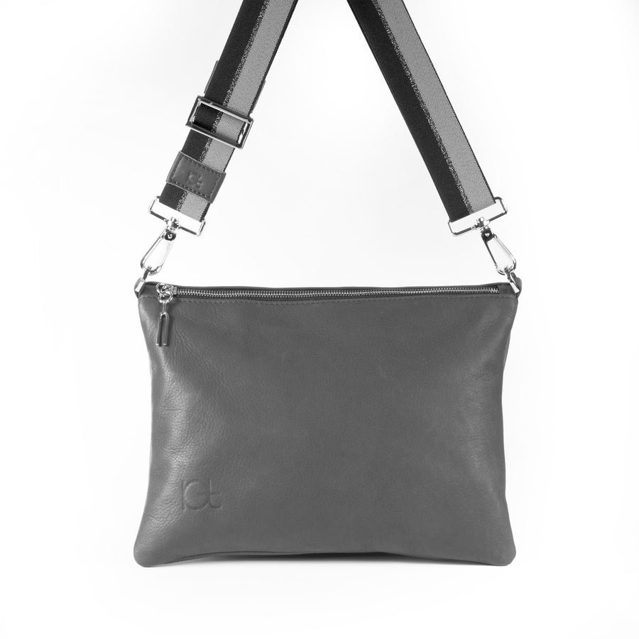 Leather Bag Sella color fumo  handmade with an elastic shoulder strap