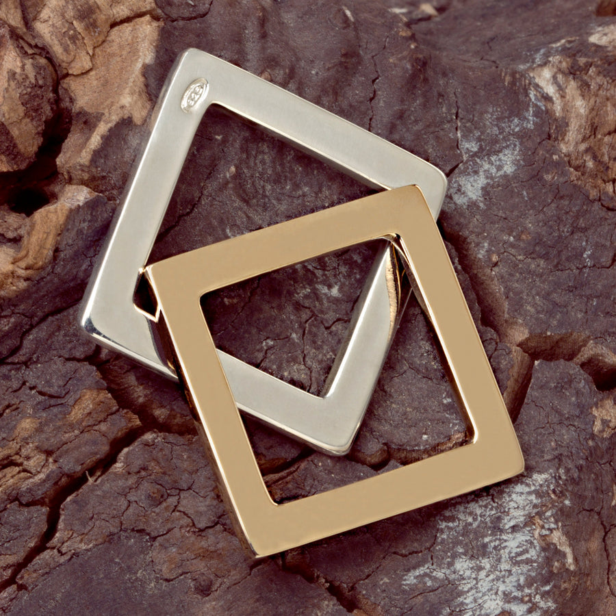 Square Ring smooth silver or bronze by Elena Lera