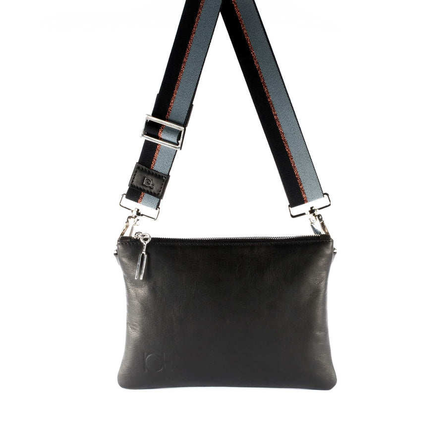 Leather Bag Tasca color black handmade with an elastic shoulder strap