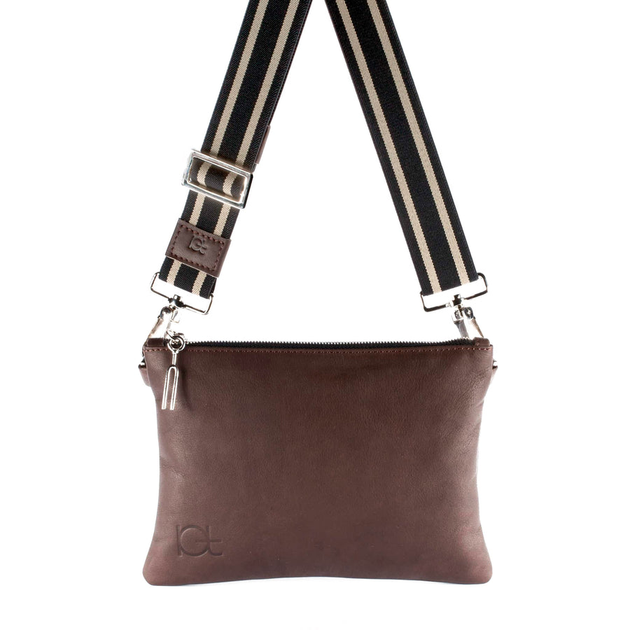 Leather Bag Tasca color choko handmade with an elastic shoulder strap