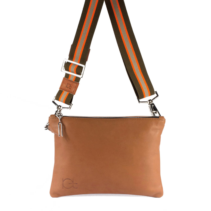 Leather Bag Tasca color cognac handmade with an elastic shoulder strap