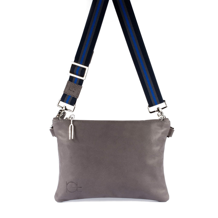 Leather Bag Tasca color fumo handmade with an elastic shoulder strap