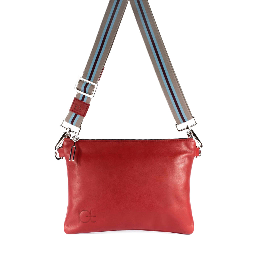 Leather Bag Tasca color rubino handmade with an elastic shoulder strap