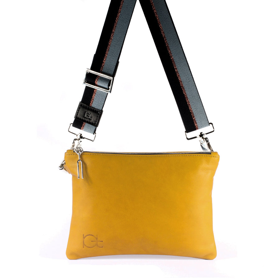 Leather Bag Tasca color topazio handmade with an elastic shoulder strap