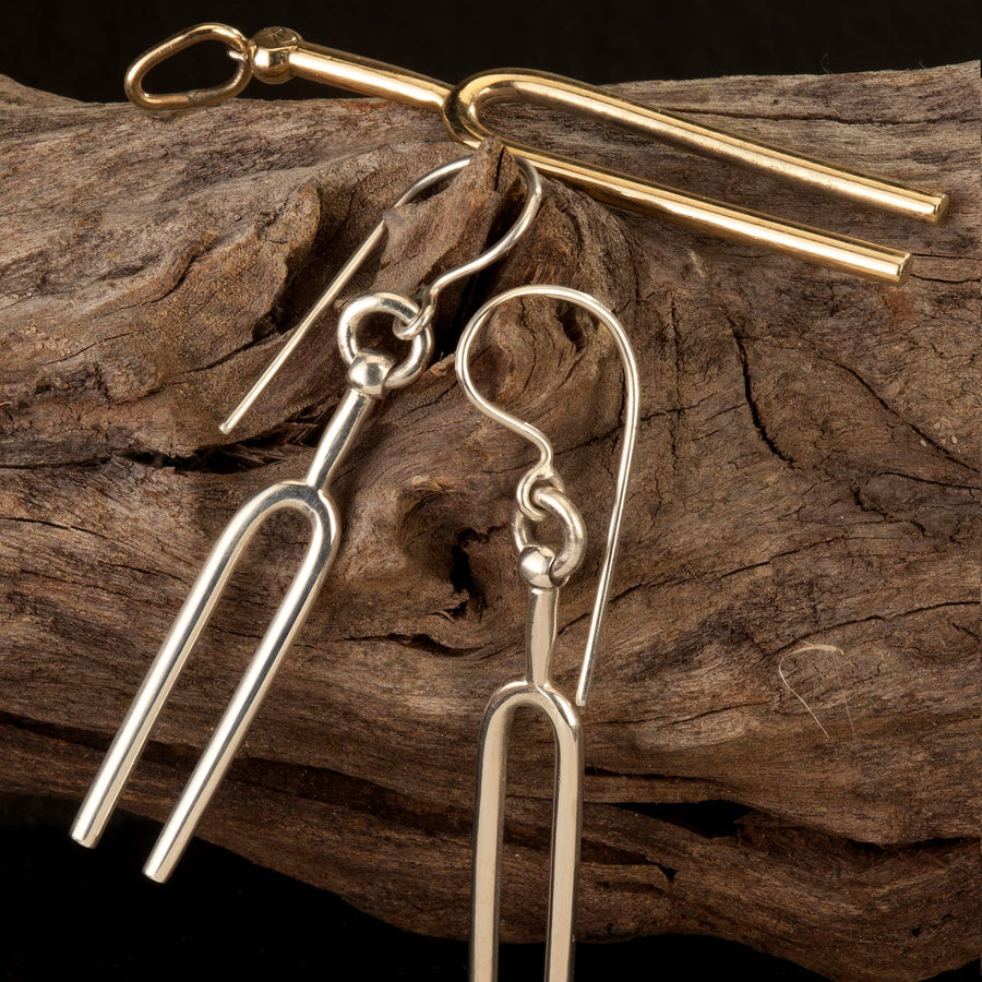 Tuning Fork earrings silver or bronze handmade