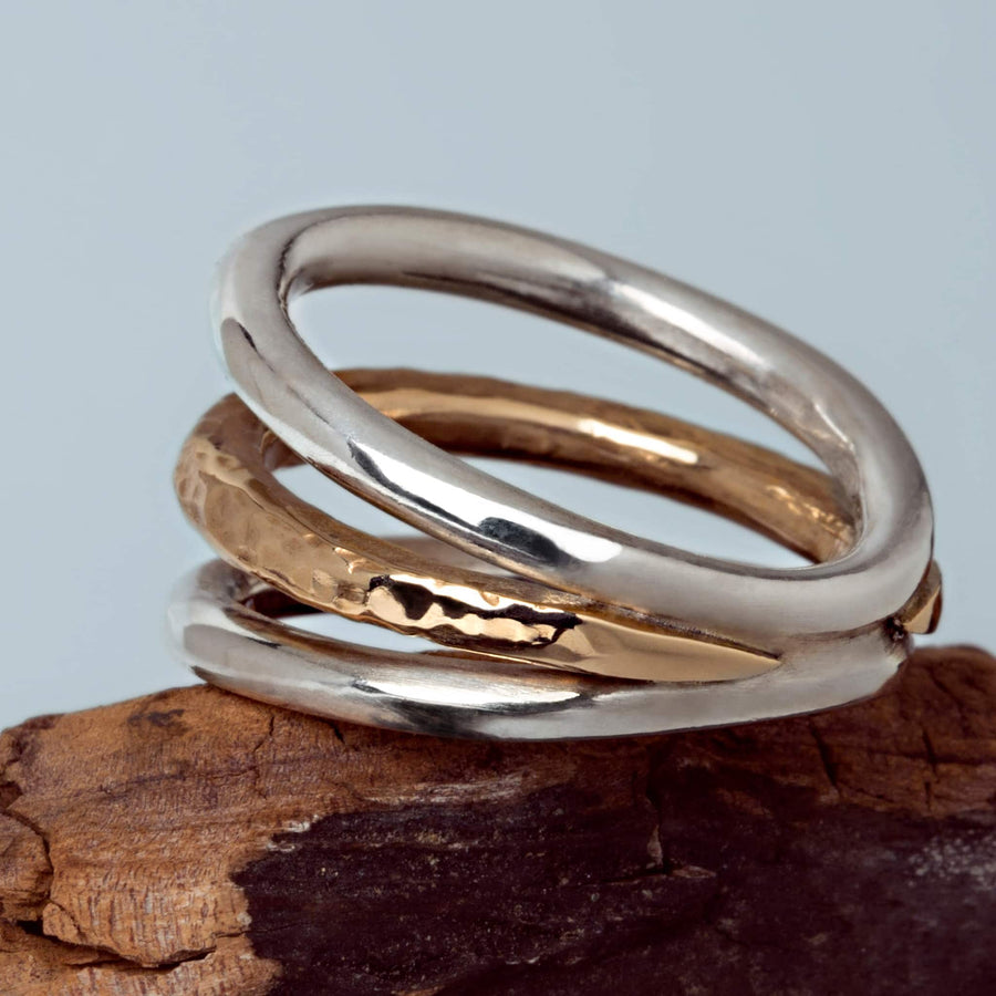 ring Trio var. II Hammared bronze and smooth silver handmade
