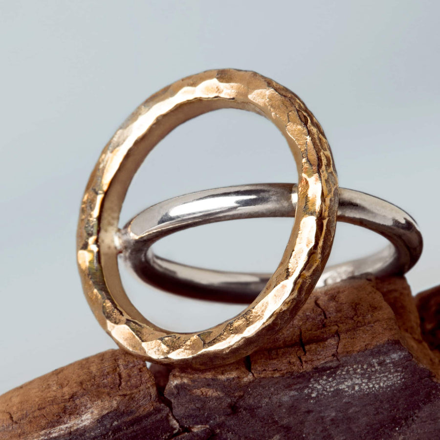 Ring Unisono hammared bronze and silver  handmade