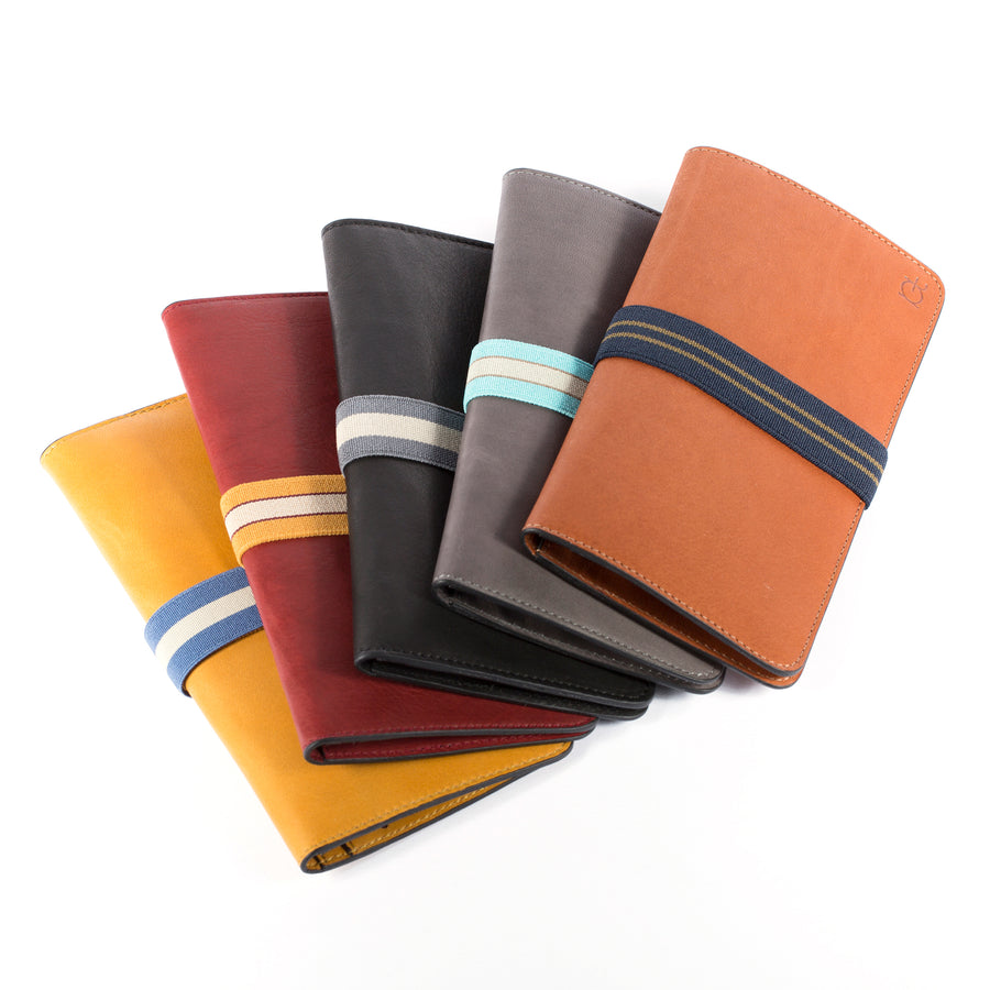 leather woman wallets with elastic band
