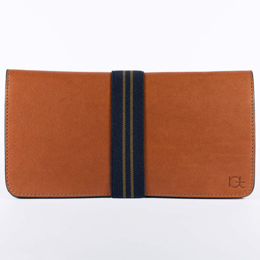 Women's leather Wallet color cognac handmade with elastic band
