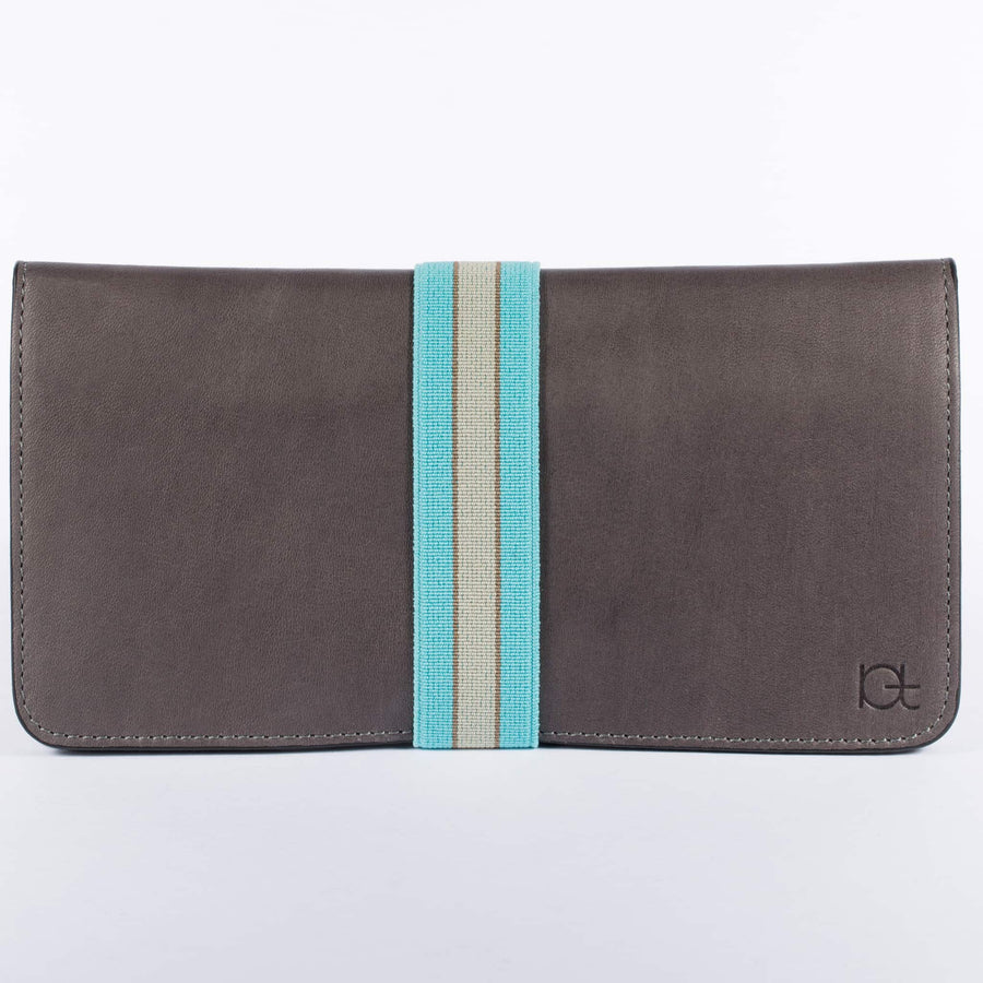 Women's leather Wallet color fumo handmade with elastic band