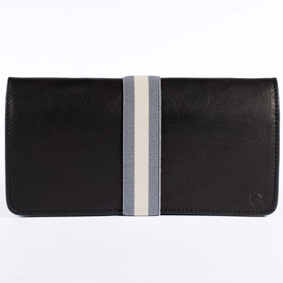 Women's leather Wallet color black handmade with elastc band