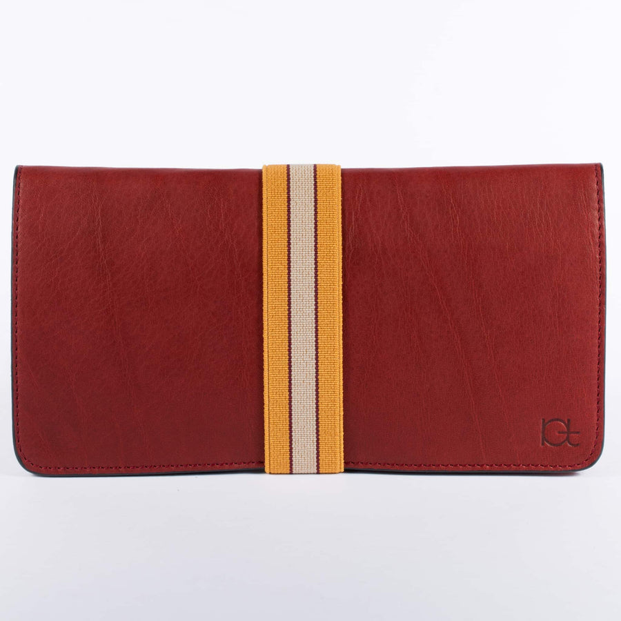 Women's leather Wallet color rubino handmade with elastic band