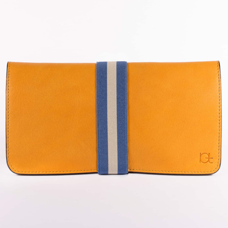 Women's leather Wallet color topazio handmade with elastic band