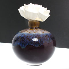 Sola Wood Peony Flower Diffuser with Purple Celadon Ceramic Vase