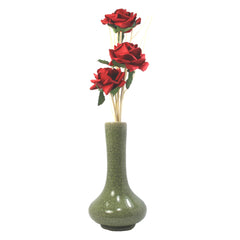 Red Rose Mulberry Paper Flower Diffuser with Green Celadon Ceramic Vase