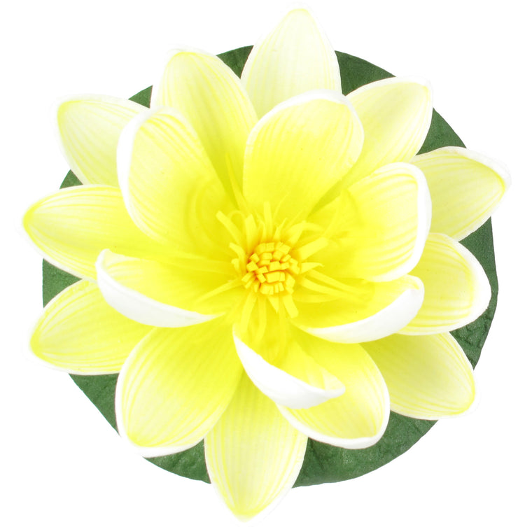 "Small Floating Foam Water Lily Flower, For Small Water Feature, Approx. 3.25"" x 3.5"" x 2"", Ivory - TropicaZona"