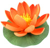 "Small Floating Foam Water Lily Flower, For Small Water Feature, Approx. 3.25"" x 3.5"" x 2"", Dark Orange - TropicaZona"
