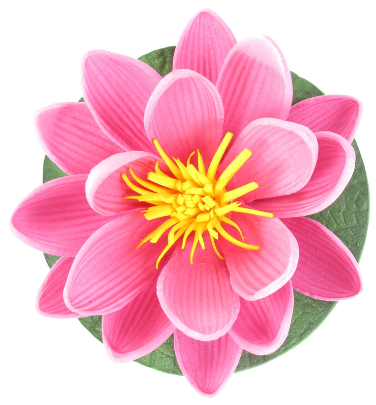"Small Floating Foam Water Lily Flower, For Small Water Feature, Approx. 3.25"" x 3.25"" x 2"", Dark Pink - TropicaZona"
