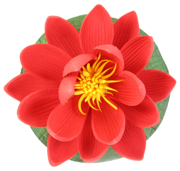 "Small Floating Foam Water Lily Flower, For Small Water Feature, Approx. 3.25"" x 3.25"" x 2"", Red - TropicaZona"