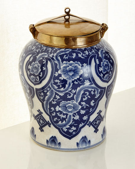 Small Blue and White Lidded Jar - TropicaZona