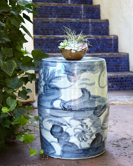 Garden Stool, Blue/White - TropicaZona