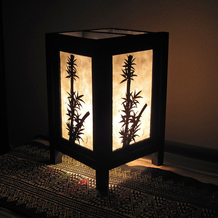 Bamboo Mulberry Paper Wood Frame Table Lantern - TropicaZona