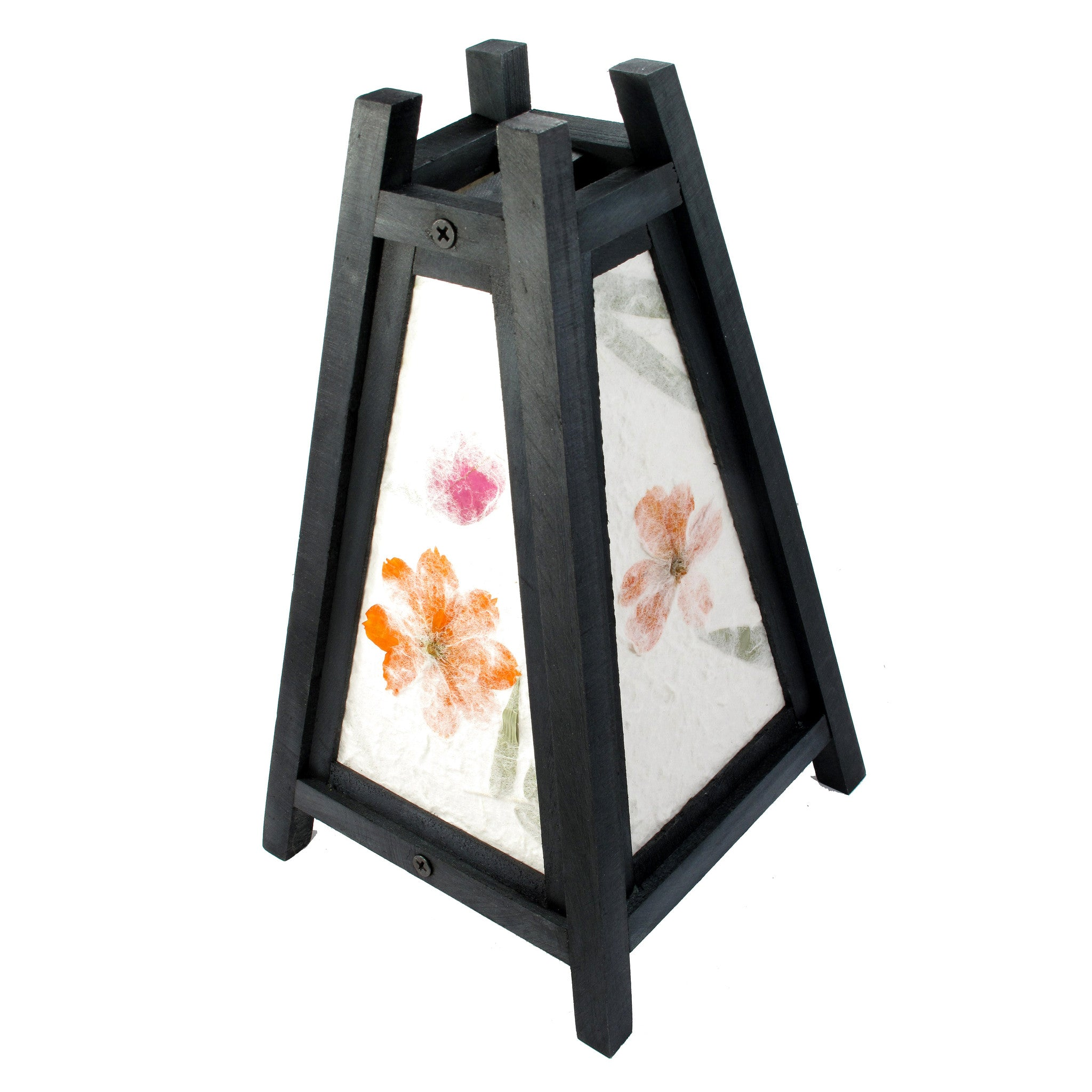 pyramidal tropical flowers mulberry paper wood frame table