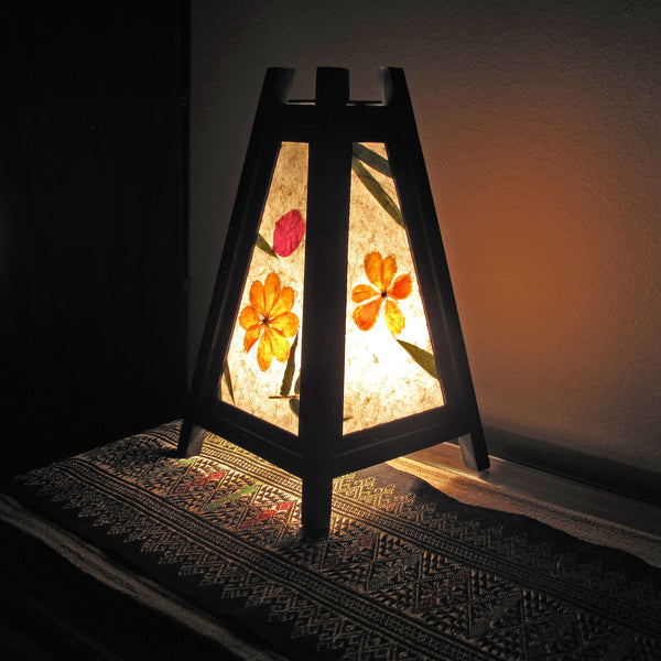 Mulberry Paper Wood Frame Table Lantern Pyramid Shaped