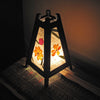 Pyramidal Tropical Flowers Mulberry Paper Wood Frame Table Lantern - TropicaZona
