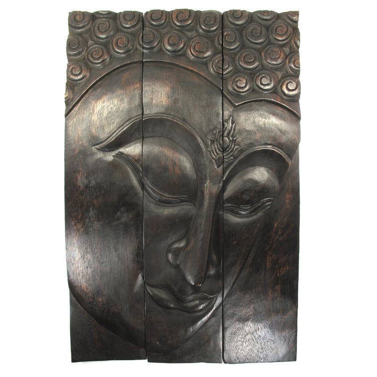 "Carved Acacia Wood (Monkey Pod/Samanea Saman Wood) Buddha Panel, 3-Piece Set - 20"" x 30"" - TropicaZona"