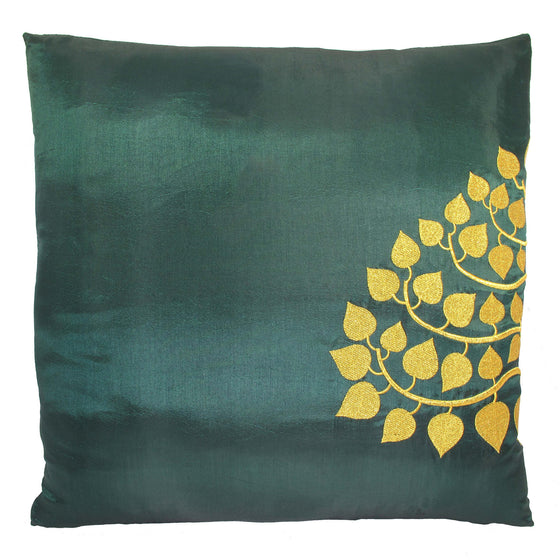 Thai Silk Throw Pillow Cover, Bodhi Design, Green - TropicaZona