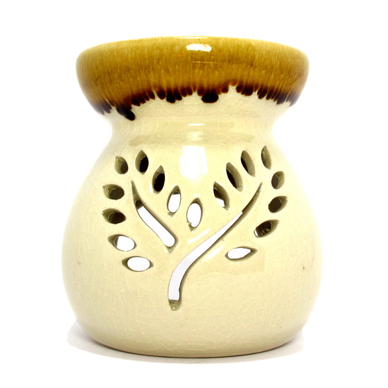 Celadon Ceramic Aroma Oil Burner (Aroma Lamp, Oil Diffuser), Crackled Beige - TropicaZona
