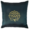 Thai Silk Throw Pillow Cover, Lotus Bloom Design, Green - TropicaZona