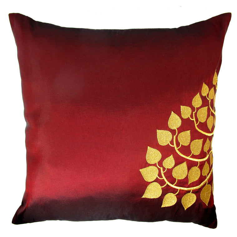 Thai Silk Throw Pillow Cover, Bodhi Design, Red - TropicaZona