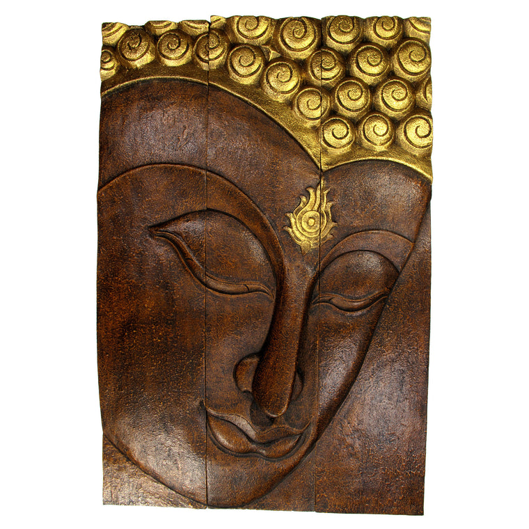 "Carved Acacia Wood (Monkey Pod/Samanea Saman Wood) Buddha Panel, 3-Piece Set - 10"" x 12"" - TropicaZona"