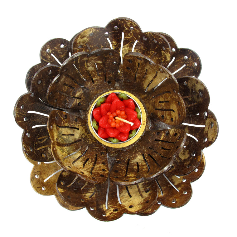 Coconut Shell Tealight Candle Holder, Large, Pudtan Flower - TropicaZona