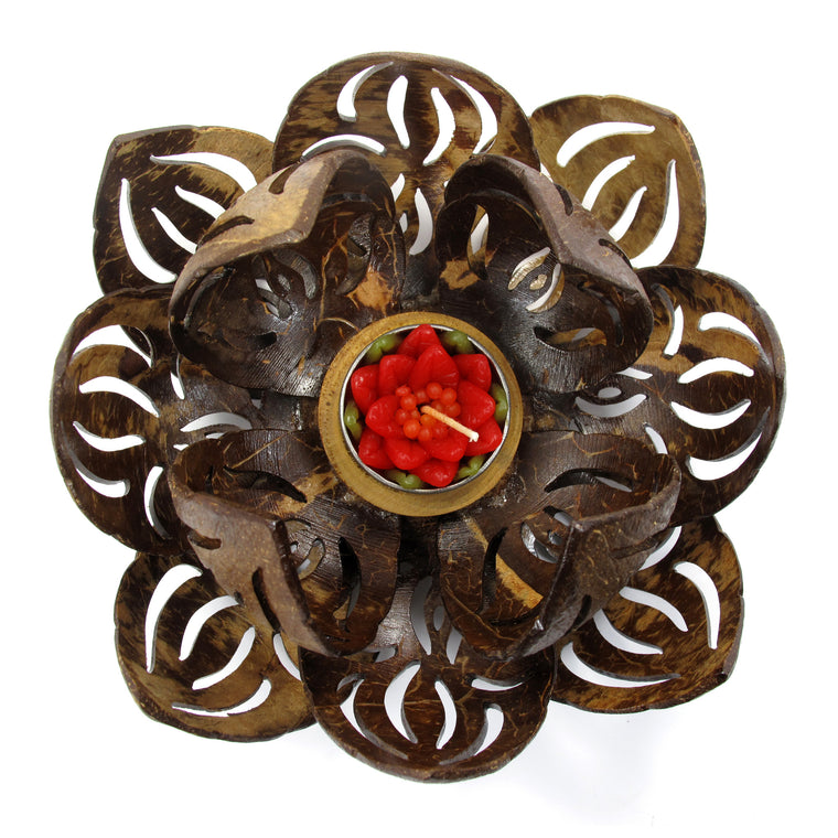 Coconut Shell Tealight Candle Holder, Large, Lotus Flower - TropicaZona
