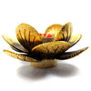 Coconut Shell Tealight Candle Holder, Small, Gold Pudtan Flower - TropicaZona