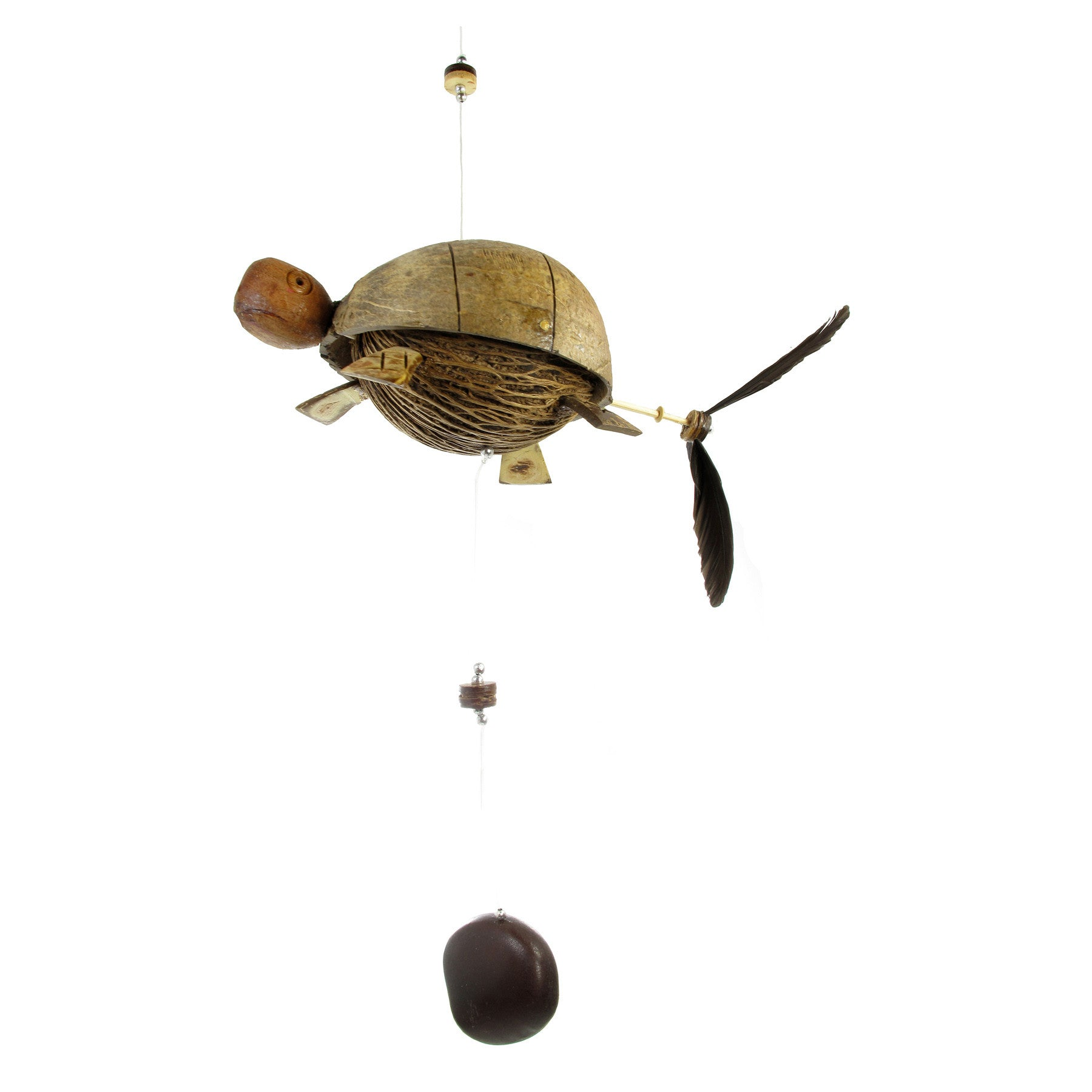 One Sea Turtle Coconut Shell Mobile Hanging Mobile Hanging Décor Tropicazona