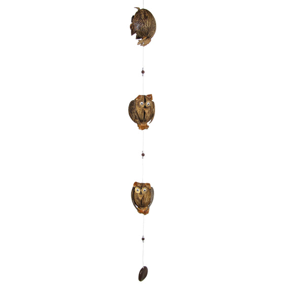 Three Owls Coconut Shell Mobile, Hanging Mobile & Hanging Décor - TropicaZona