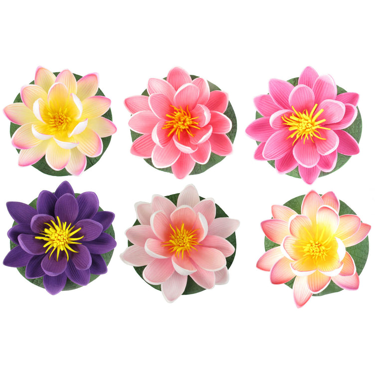 "Small Floating Foam Water Lily Flowers, Assorted Cool Colors, A Set of 6, For Small Water Feature, 3.25"" x 3.25"" x 2"" (each) - TropicaZona"
